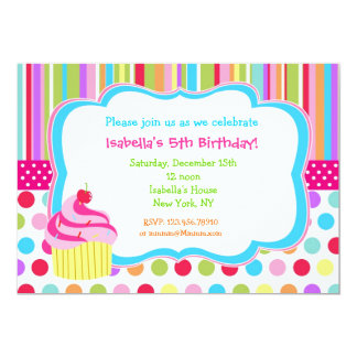 "Rainbow Cupcake Birthday Party Invitations 5"" X 7"" Invitation Card"