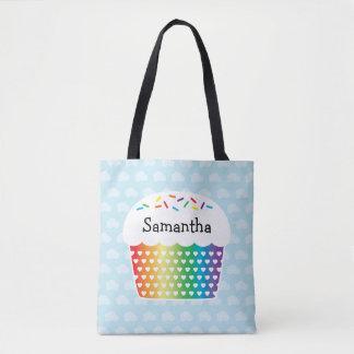 Rainbow Cupcake Kids Custom Name Tote Bag