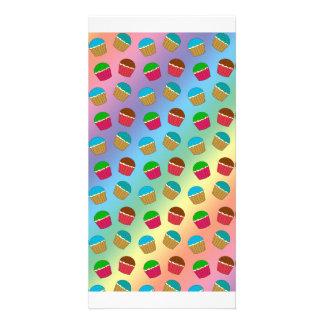 Rainbow cupcake pattern customized photo card