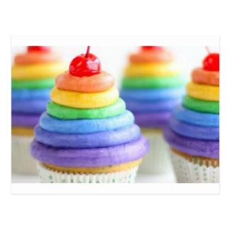 Rainbow cupcakes postcard
