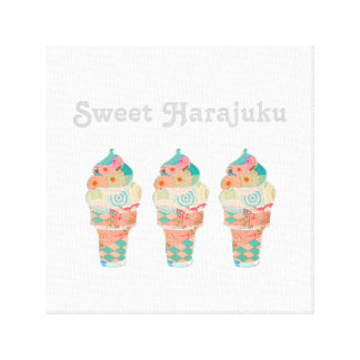 Rainbow Custard Ice Cream Pink Cone Canvas Print