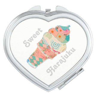 Rainbow Custard Ice Cream Pink Cone Compact Mirror