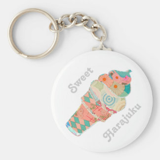 Rainbow Custard Ice Cream Pink Cone Key Ring
