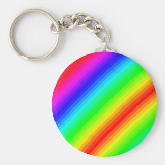 Rainbow Customizable Basic Round Button Key Ring