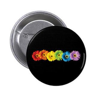 Rainbow Daisies 6 Cm Round Badge
