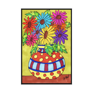Rainbow Daisies in Designer Vase Canvas Print