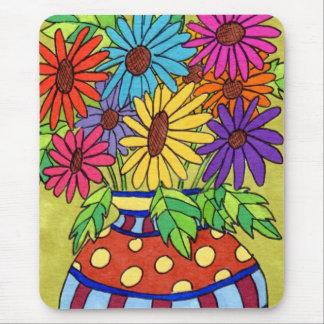 Rainbow Daisies in Designer Vase Mousepad