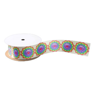 Rainbow Daisy Colorful Flowers Pride Hippy Flower Satin Ribbon