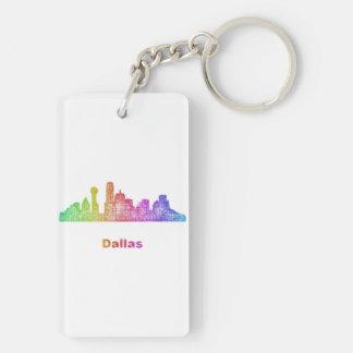 Rainbow Dallas skyline Double-Sided Rectangular Acrylic Key Ring