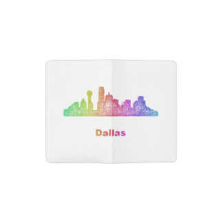 Rainbow Dallas skyline Pocket Moleskine Notebook