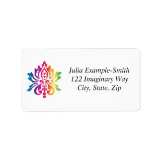 Rainbow Damask Custom Address Label