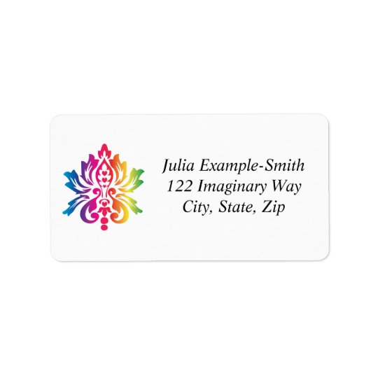 Rainbow Damask Custom Address Label