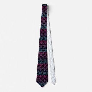 Rainbow Damask Pattern Black Pink Blue Purple Art Tie