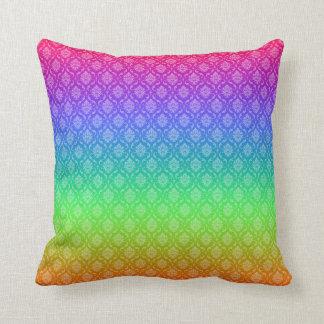Rainbow Damask Pillow Throw Cushion