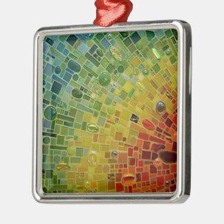 Rainbow Silver-Colored Square Decoration
