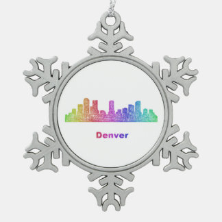 Rainbow Denver skyline Snowflake Pewter Christmas Ornament