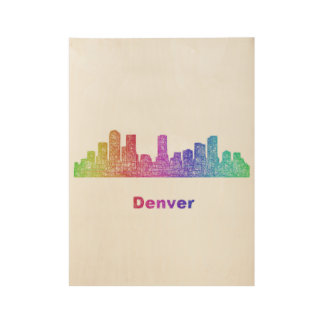 Rainbow Denver skyline Wood Poster