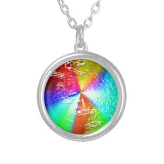 rainbow design round pendant necklace