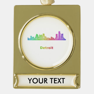 Rainbow Detroit skyline Gold Plated Banner Ornament