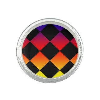 Rainbow Diamond Triangles Round Silver Dress Ring.