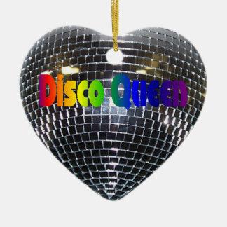 Rainbow Disco Queen Retro 70s Silver Mirror Ball Ceramic Ornament