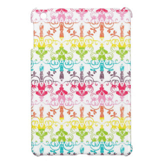 Rainbow distressed damask chandelier girly pattern iPad mini covers