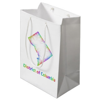 Rainbow District of Columbia map Medium Gift Bag