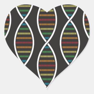 Rainbow DNA Strands Heart Sticker