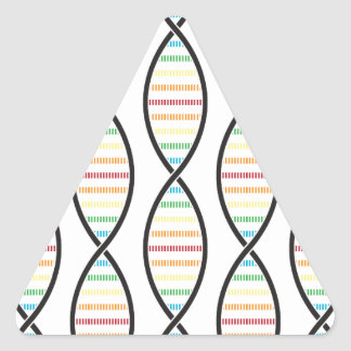 Rainbow DNA Strands Triangle Sticker