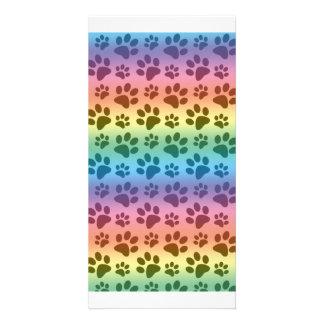 Rainbow dog paw print pattern personalised photo card