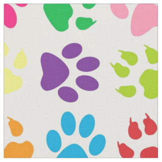 Rainbow Dog Paws Pattern Fabric