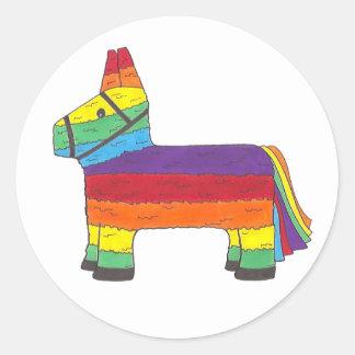 Rainbow Donkey Piñata Birthday Party Fiesta Pride Classic Round Sticker