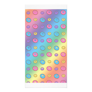 Rainbow donut pattern picture card