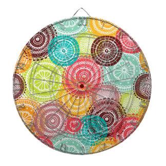 Rainbow Doodle Lace Doily Mandala Circles Dart Board