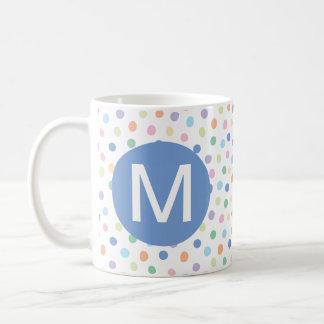 Rainbow Dots Blue Monogram Initial Letter Mug