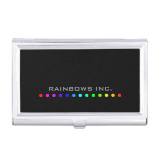 Rainbow Dots on Black Business Card Cases