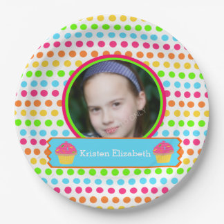 Rainbow Dots Photo Birthday Party Paper Plate