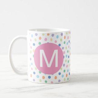 Rainbow Dots Pink Monogram Initial Letter Mug