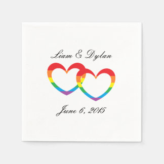 """Rainbow Double Hearts"" Paper Napkins Disposable Napkin"