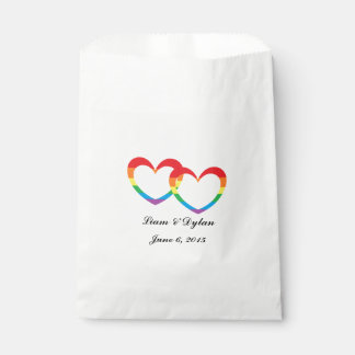 """Rainbow Double Hearts"" Personalized Favor Bags"