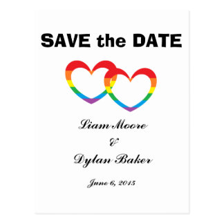 """Rainbow Double Hearts"" Save the Date Postcards"