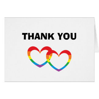 """Rainbow Double Hearts"" Thank You Cards"