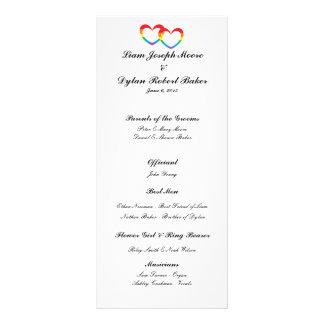 """Rainbow Double Hearts"" Wedding Program Rack Card"