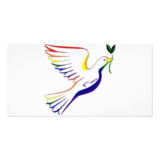 Rainbow Dove Personalized Photo Card