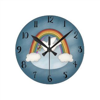 Rainbow Dove Wall Clock