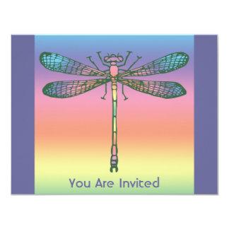 Rainbow Dragonfly 4.25x5.5 Paper Invitation Card