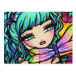 Rainbow Dragonfly Flower Fairy Fantasy Postcard