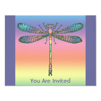 "Rainbow Dragonfly 4.25"" X 5.5"" Invitation Card"