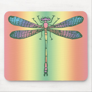 Rainbow Dragonfly Mouse Pad