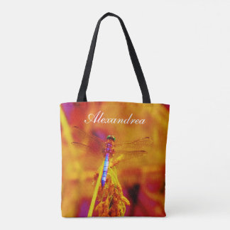 Rainbow Dragonfly  Orange pink background  w/ Name Tote Bag